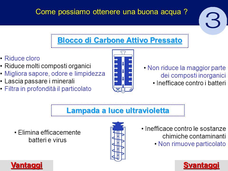 Advantages Come possiamo ottenere una buona acqua ? VantaggiSvantaggi Riduce cloro Riduce molti composti organici Migliora sapore, odore e limpidezza