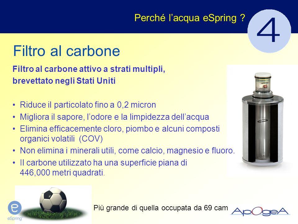 Filtro al carbone attivo a strati multipli, brevettato negli Stati Uniti Riduce il particolato fino a 0,2 micron Migliora il sapore, lodore e la limpi