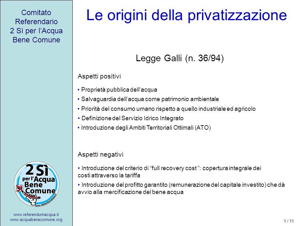 Il cammino verso la privatizzazione Dalle municipalizzate alle S.p.A.