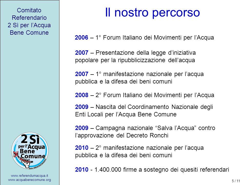 Il nostro percorso Comitato Referendario 2 Sì per lAcqua Bene Comune www.referendumacqua.it www.acquabenecomune.org 2007 – Presentazione della legge diniziativa popolare per la ripubblicizzazione dellacqua 2010 - 1.400.000 firme a sostegno dei quesiti referendari 2006 – 1° Forum Italiano dei Movimenti per lAcqua 2007 – 1° manifestazione nazionale per lacqua pubblica e la difesa dei beni comuni 2008 – 2° Forum Italiano dei Movimenti per lAcqua 2009 – Nascita del Coordinamento Nazionale degli Enti Locali per lAcqua Bene Comune 2009 – Campagna nazionale Salva lAcqua contro lapprovazione del Decreto Ronchi 2010 – 2° manifestazione nazionale per lacqua pubblica e la difesa dei beni comuni 5 / 11