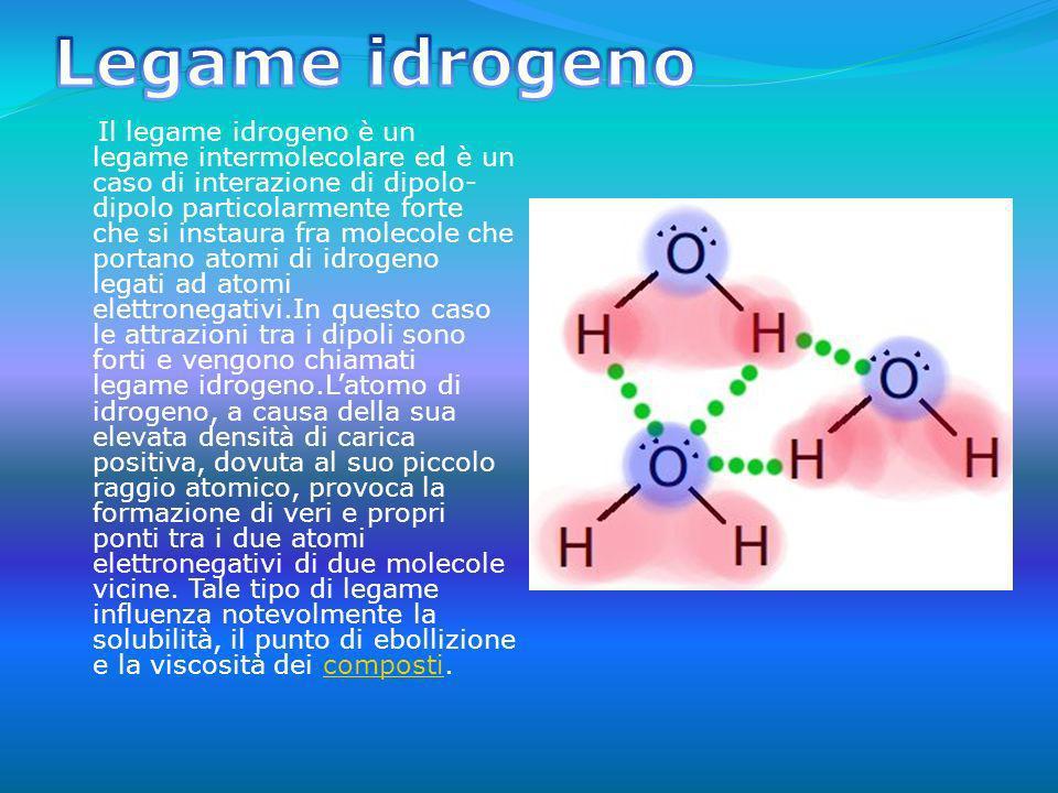 In alcune molecole come nel caso dellacqua la distribuzione delle cariche elettriche è disposta nel modo da rendere la sostanza polare.