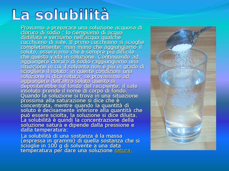 Proviamo a preparare una soluzione acquosa di cloruro di sodio : lo riempiamo di acqua distillata e versiamo nellacqua qualche cucchiaino di sale. Il