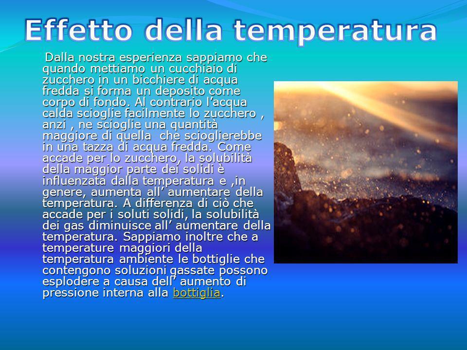 La temperatura non è lunica variabile che influenza la solubilità di un gas in un liquido.