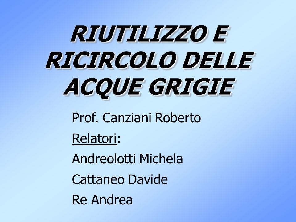 RIUTILIZZO E RICIRCOLO DELLE ACQUE GRIGIE Prof. Canziani Roberto Relatori: Andreolotti Michela Cattaneo Davide Re Andrea