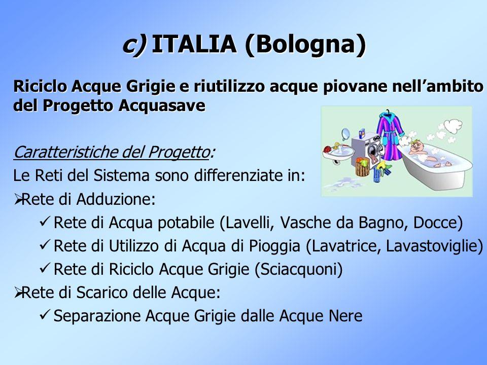 c) ITALIA (Bologna) Riciclo Acque Grigie e riutilizzo acque piovane nellambito del Progetto Acquasave Caratteristiche del Progetto: Le Reti del Sistem