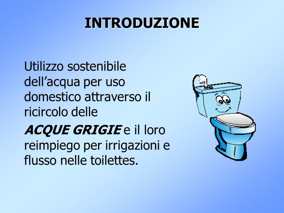 INTRODUZIONE Utilizzo sostenibile dellacqua per uso domestico attraverso il ricircolo delle ACQUE GRIGIE e il loro reimpiego per irrigazioni e flusso nelle toilettes.