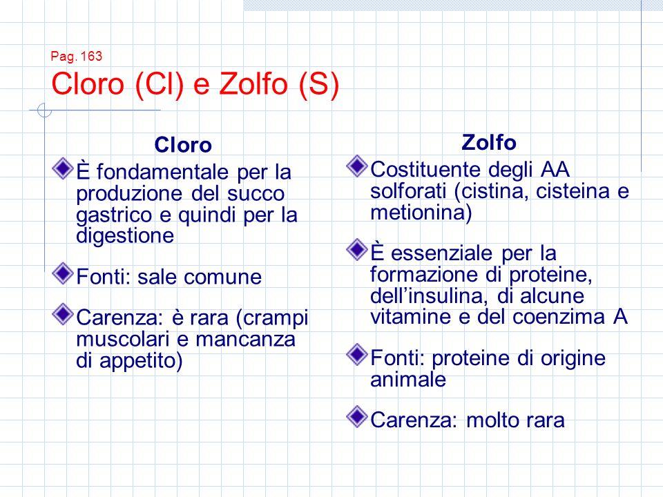Pag. 163 Cloro (Cl) e Zolfo (S) Cloro È fondamentale per la produzione del succo gastrico e quindi per la digestione Fonti: sale comune Carenza: è rar
