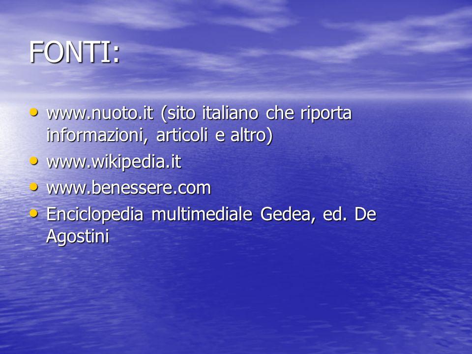 FONTI: www.nuoto.it (sito italiano che riporta informazioni, articoli e altro) www.nuoto.it (sito italiano che riporta informazioni, articoli e altro)
