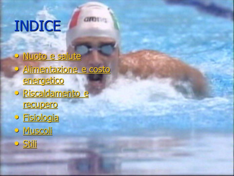 INDICE Nuoto e salute Nuoto e salute Nuoto e salute Nuoto e salute Alimentazione e costo energetico Alimentazione e costo energetico Alimentazione e c