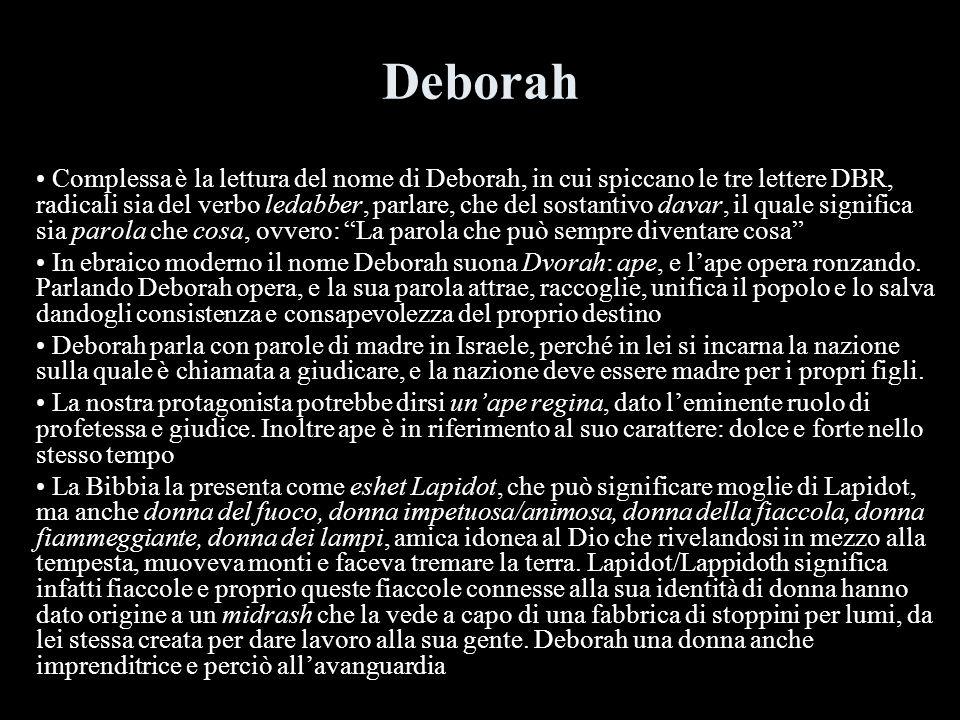 Deborah Complessa è la lettura del nome di Deborah, in cui spiccano le tre lettere DBR, radicali sia del verbo ledabber, parlare, che del sostantivo d