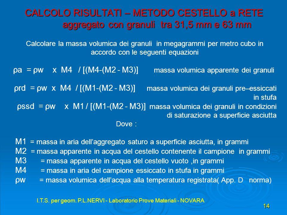 I.T.S. per geom. P.L.NERVI - Laboratorio Prove Materiali - NOVARA 14 I.T.S. per geom. P.L.NERVI - Laboratorio Prove Materiali - NOVARA CALCOLO RISULTA