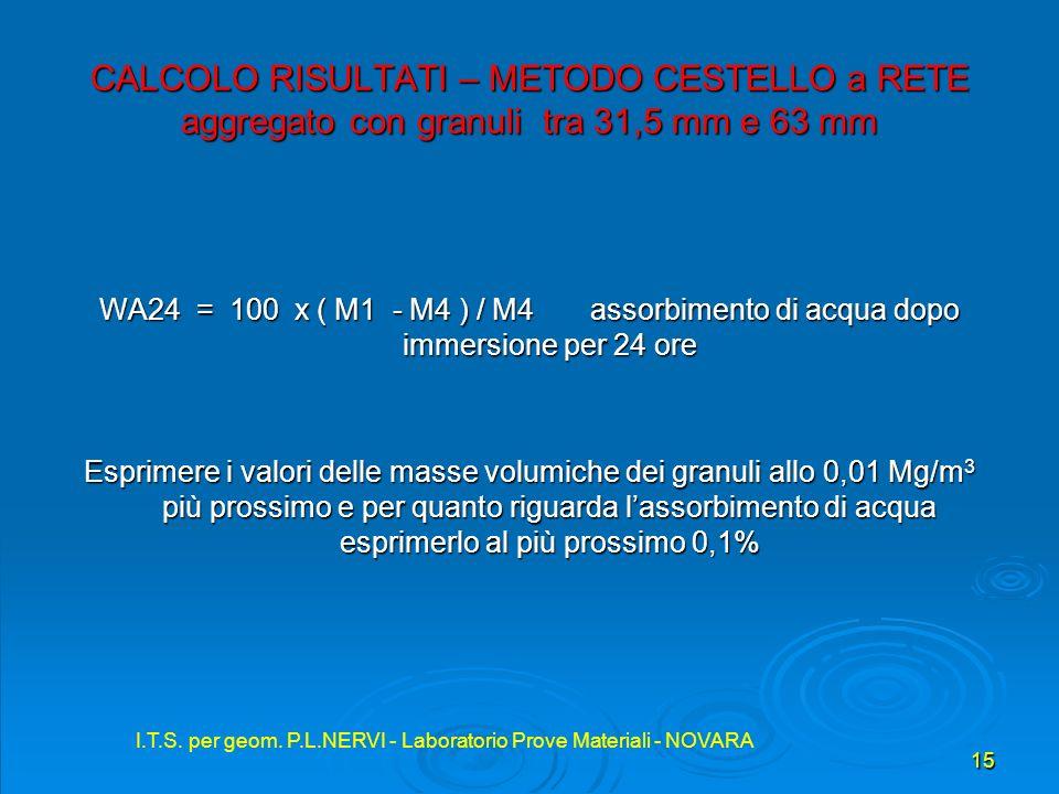 I.T.S. per geom. P.L.NERVI - Laboratorio Prove Materiali - NOVARA 15 I.T.S. per geom. P.L.NERVI - Laboratorio Prove Materiali - NOVARA CALCOLO RISULTA
