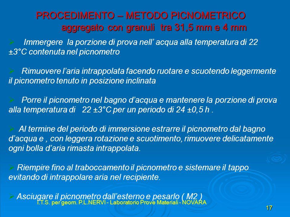 I.T.S. per geom. P.L.NERVI - Laboratorio Prove Materiali - NOVARA 17 I.T.S. per geom. P.L.NERVI - Laboratorio Prove Materiali - NOVARA PROCEDIMENTO –