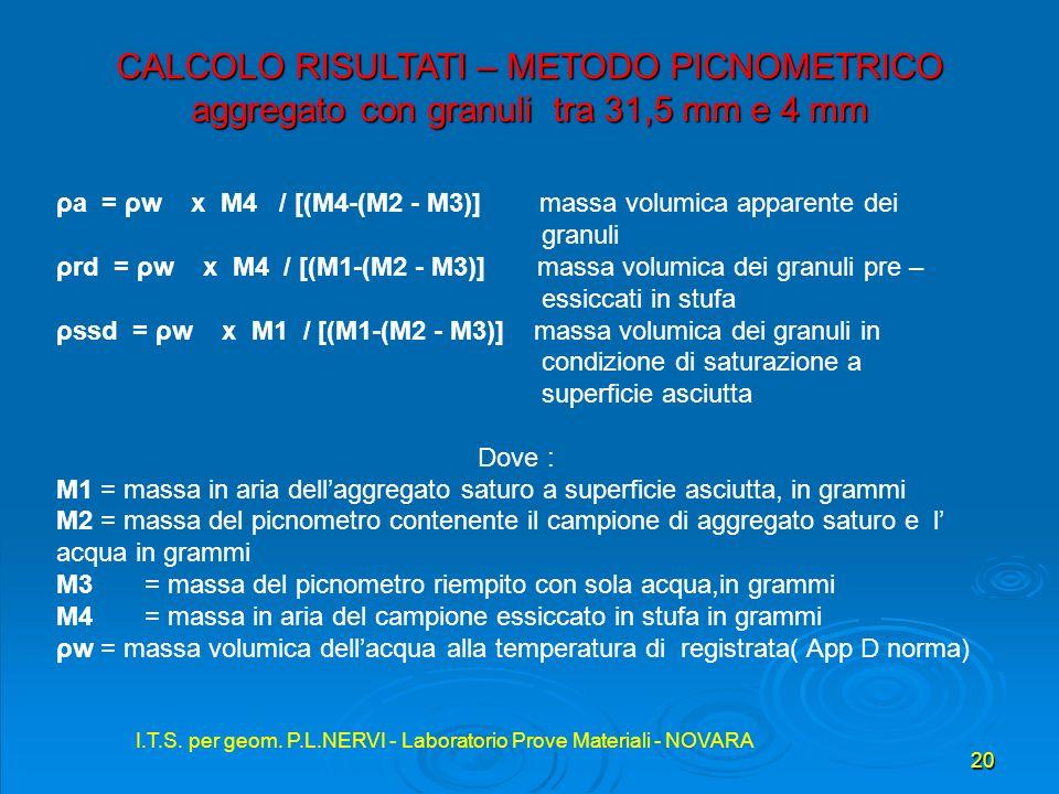 I.T.S. per geom. P.L.NERVI - Laboratorio Prove Materiali - NOVARA 20 I.T.S. per geom. P.L.NERVI - Laboratorio Prove Materiali - NOVARA CALCOLO RISULTA