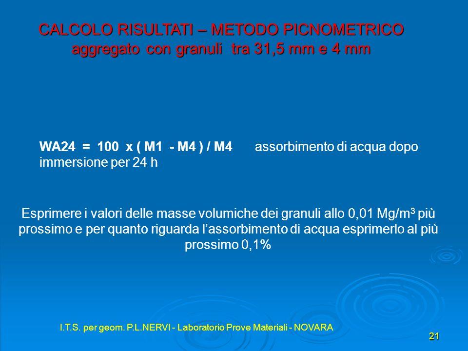 I.T.S. per geom. P.L.NERVI - Laboratorio Prove Materiali - NOVARA 21 I.T.S. per geom. P.L.NERVI - Laboratorio Prove Materiali - NOVARA CALCOLO RISULTA