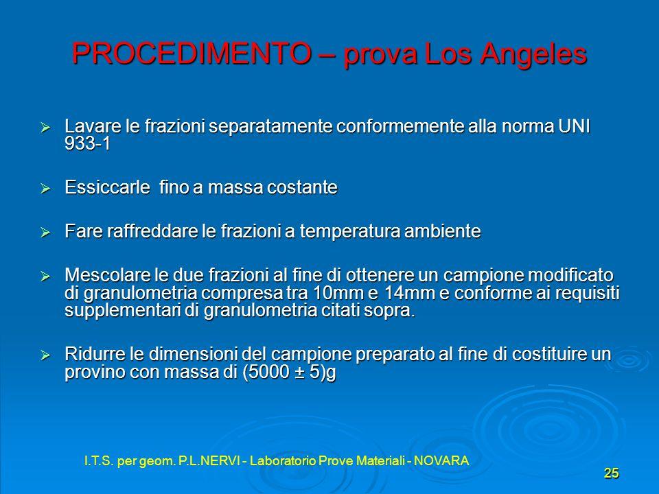 I.T.S. per geom. P.L.NERVI - Laboratorio Prove Materiali - NOVARA 25 I.T.S. per geom. P.L.NERVI - Laboratorio Prove Materiali - NOVARA PROCEDIMENTO –