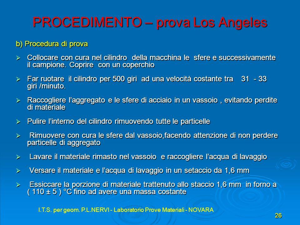 I.T.S. per geom. P.L.NERVI - Laboratorio Prove Materiali - NOVARA 26 I.T.S. per geom. P.L.NERVI - Laboratorio Prove Materiali - NOVARA PROCEDIMENTO –