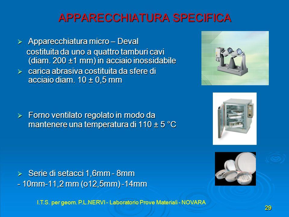 I.T.S. per geom. P.L.NERVI - Laboratorio Prove Materiali - NOVARA 29 I.T.S. per geom. P.L.NERVI - Laboratorio Prove Materiali - NOVARA APPARECCHIATURA