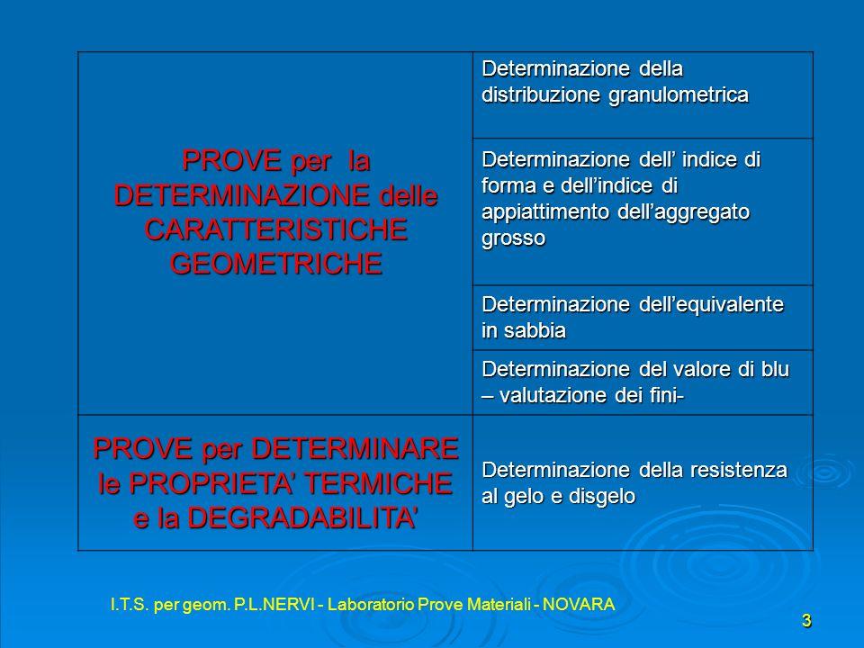 I.T.S. per geom. P.L.NERVI - Laboratorio Prove Materiali - NOVARA 3 Determinazione della distribuzione granulometrica PROVE per la DETERMINAZIONE dell