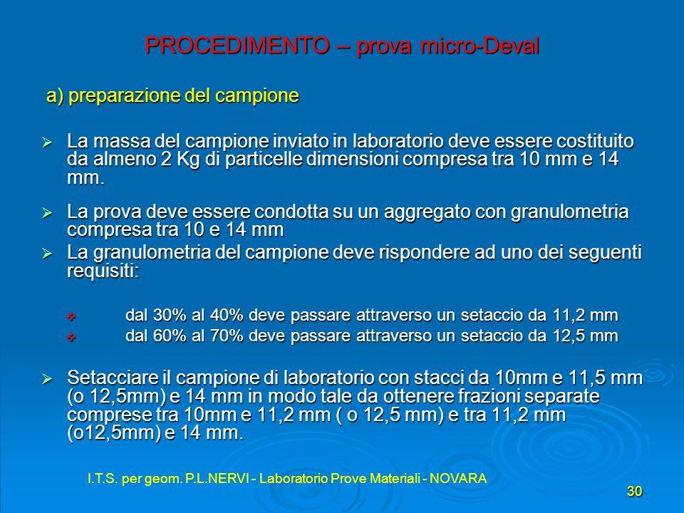 I.T.S. per geom. P.L.NERVI - Laboratorio Prove Materiali - NOVARA 30 I.T.S. per geom. P.L.NERVI - Laboratorio Prove Materiali - NOVARA PROCEDIMENTO –