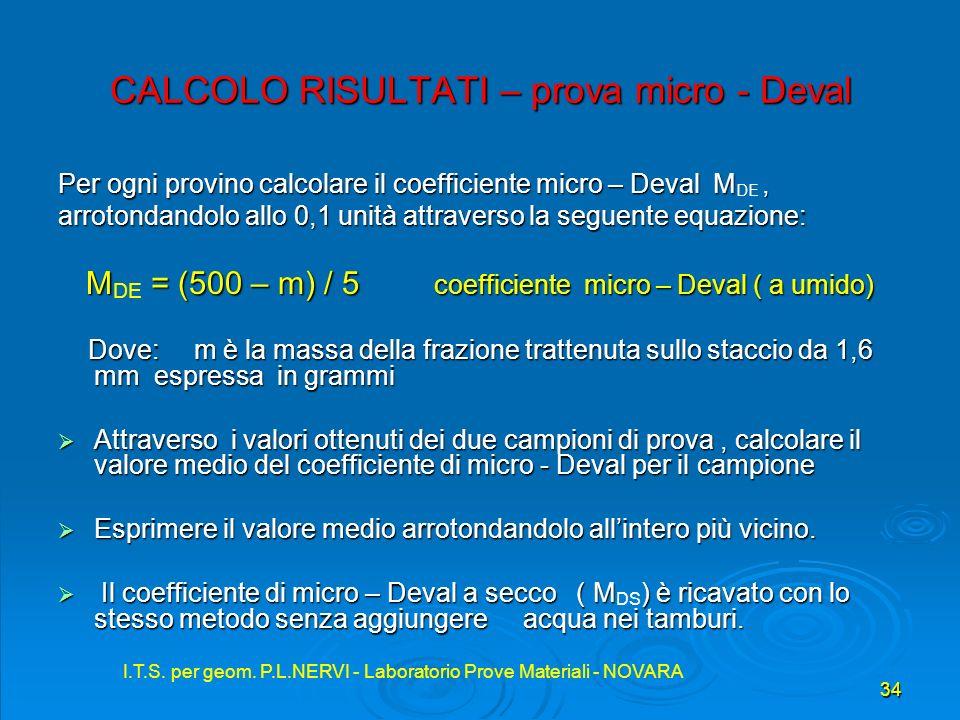 I.T.S. per geom. P.L.NERVI - Laboratorio Prove Materiali - NOVARA 34 I.T.S. per geom. P.L.NERVI - Laboratorio Prove Materiali - NOVARA CALCOLO RISULTA