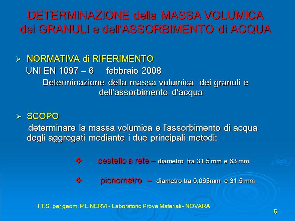 I.T.S. per geom. P.L.NERVI - Laboratorio Prove Materiali - NOVARA 5 DETERMINAZIONE della MASSA VOLUMICA dei GRANULI e dellASSORBIMENTO di ACQUA NORMAT