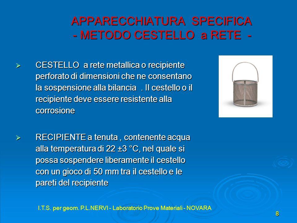 I.T.S. per geom. P.L.NERVI - Laboratorio Prove Materiali - NOVARA 8 APPARECCHIATURA SPECIFICA - METODO CESTELLO a RETE - APPARECCHIATURA SPECIFICA - M