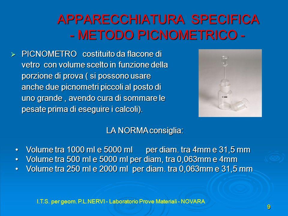 I.T.S. per geom. P.L.NERVI - Laboratorio Prove Materiali - NOVARA 9 APPARECCHIATURA SPECIFICA - METODO PICNOMETRICO - APPARECCHIATURA SPECIFICA - METO