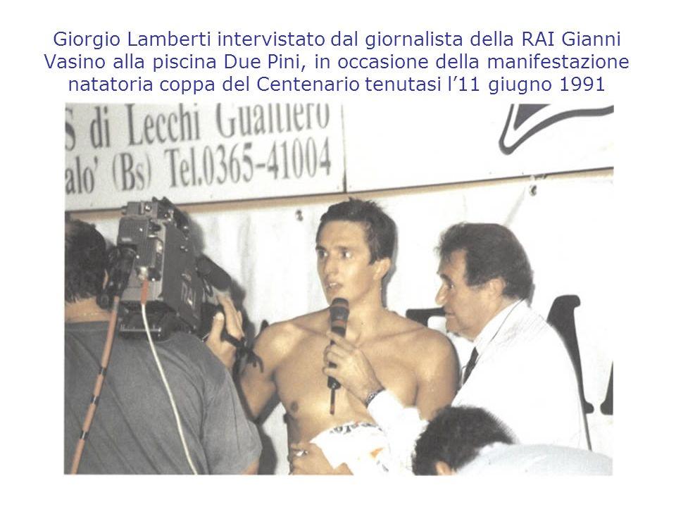 Giorgio Lamberti intervistato dal giornalista della RAI Gianni Vasino alla piscina Due Pini, in occasione della manifestazione natatoria coppa del Cen