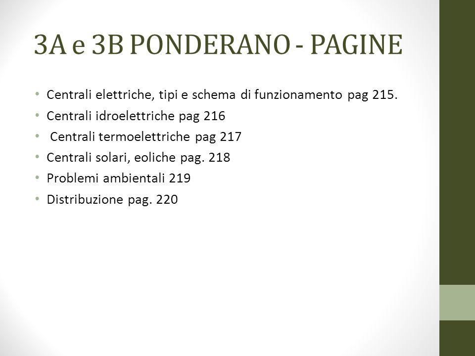 3A e 3B PONDERANO - PAGINE Centrali elettriche, tipi e schema di funzionamento pag 215. Centrali idroelettriche pag 216 Centrali termoelettriche pag 2