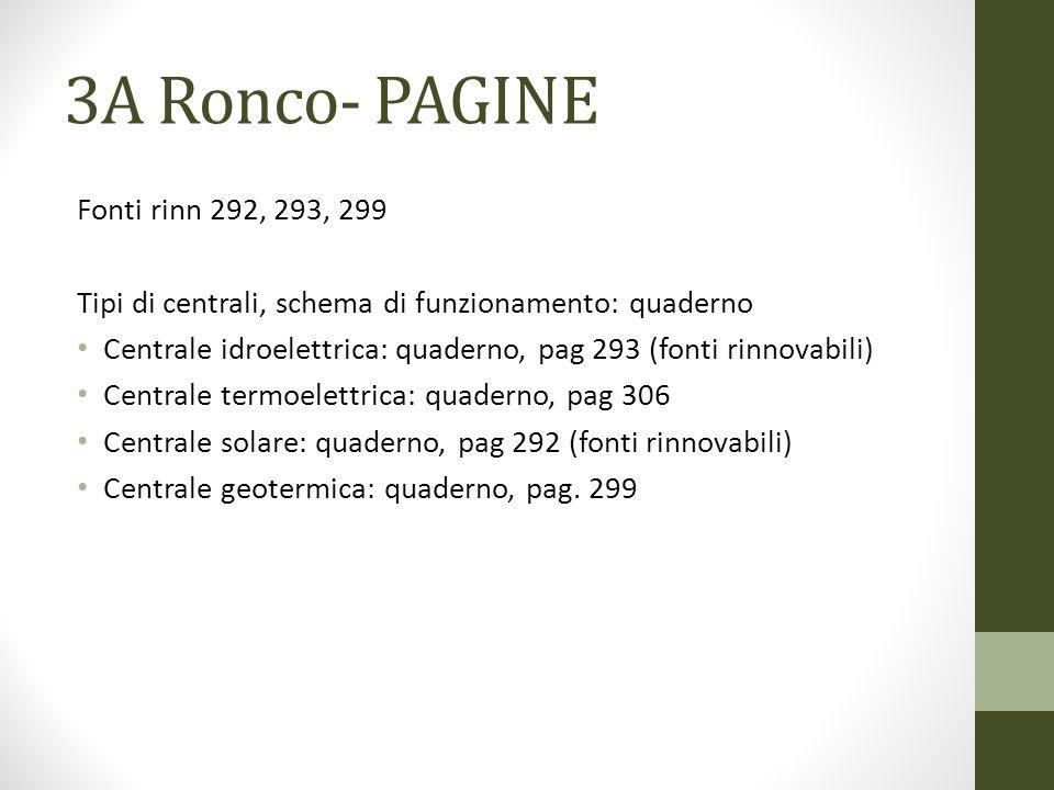 3A Ronco- PAGINE Fonti rinn 292, 293, 299 Tipi di centrali, schema di funzionamento: quaderno Centrale idroelettrica: quaderno, pag 293 (fonti rinnova