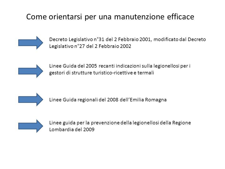 Come orientarsi per una manutenzione efficace Decreto Legislativo n°31 del 2 Febbraio 2001, modificato dal Decreto Legislativo n°27 del 2 Febbraio 200