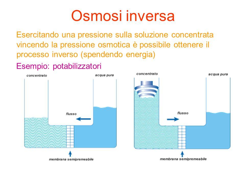 Osmosi inversa Esercitando una pressione sulla soluzione concentrata vincendo la pressione osmotica è possibile ottenere il processo inverso (spendend