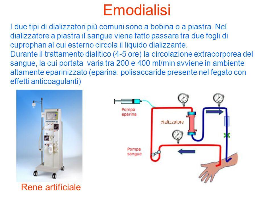 Emodialisi Rene artificiale dializzatore I due tipi di dializzatori più comuni sono a bobina o a piastra. Nel dializzatore a piastra il sangue viene f