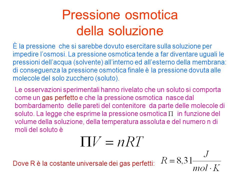 Pressione osmotica della soluzione È la pressione che si sarebbe dovuto esercitare sulla soluzione per impedire losmosi. La pressione osmotica tende a