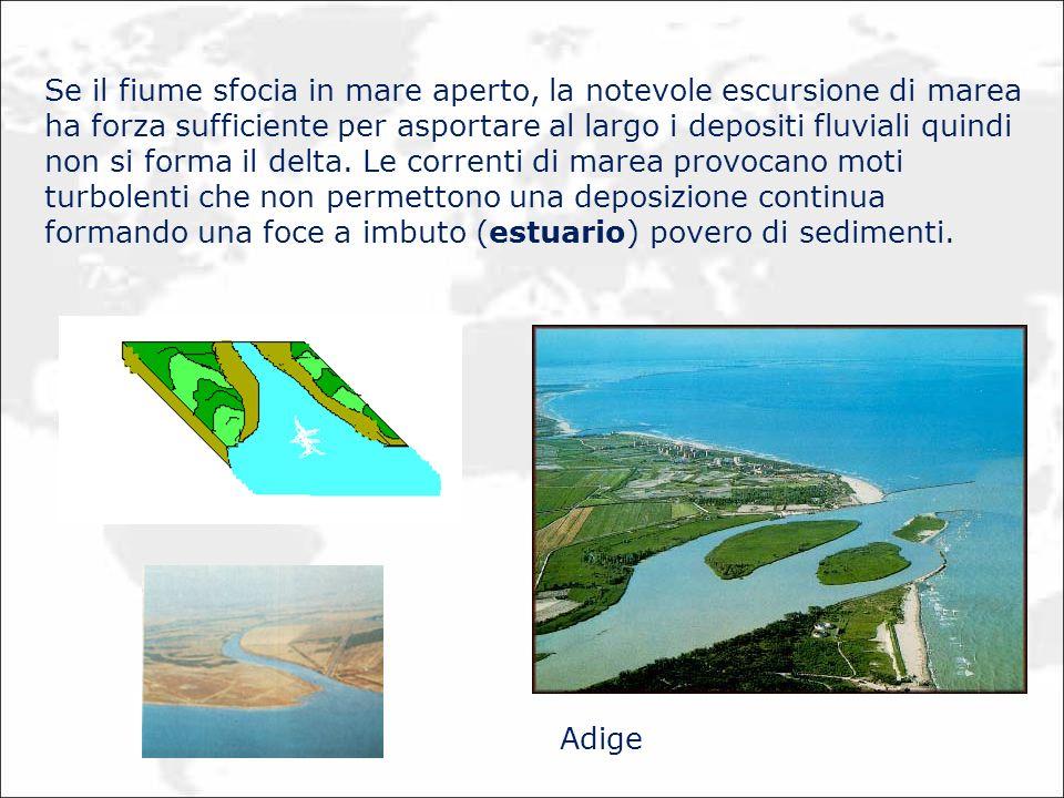 Se il fiume sfocia in mare aperto, la notevole escursione di marea ha forza sufficiente per asportare al largo i depositi fluviali quindi non si forma