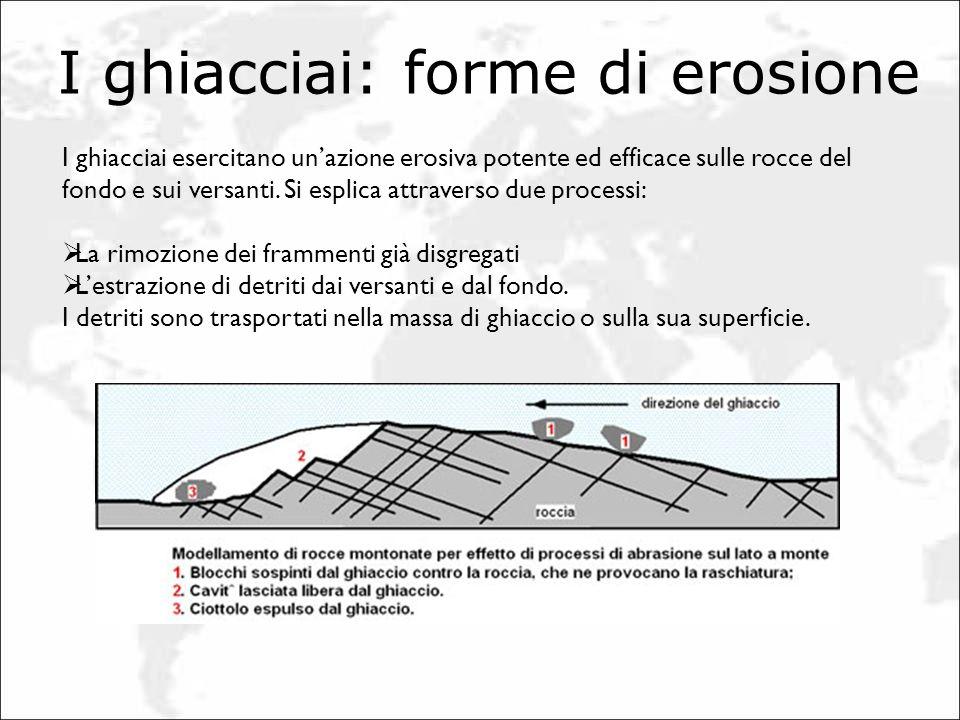 I ghiacciai: forme di erosione I ghiacciai esercitano unazione erosiva potente ed efficace sulle rocce del fondo e sui versanti. Si esplica attraverso