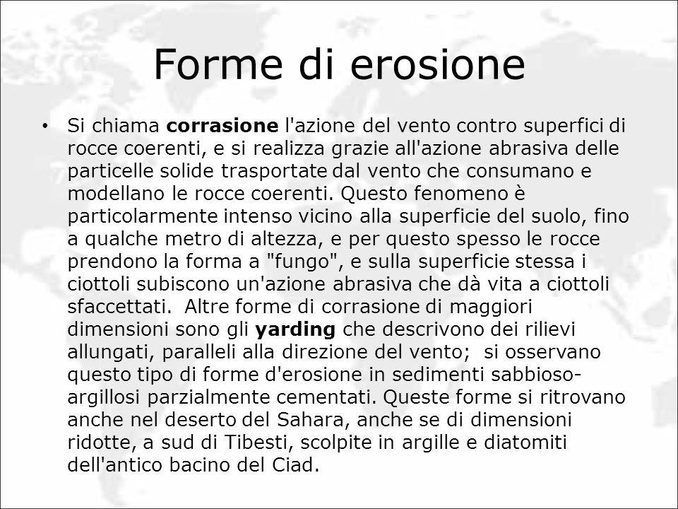 Forme di erosione Si chiama corrasione l'azione del vento contro superfici di rocce coerenti, e si realizza grazie all'azione abrasiva delle particell