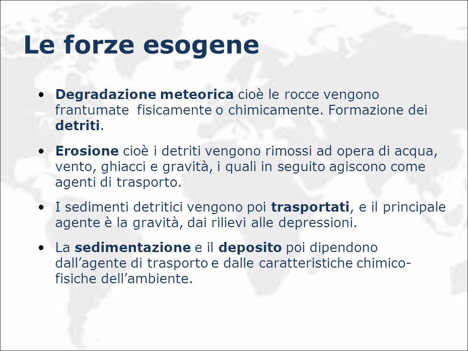 Le forze esogene Degradazione meteorica cioè le rocce vengono frantumate fisicamente o chimicamente. Formazione dei detriti. Erosione cioè i detriti v