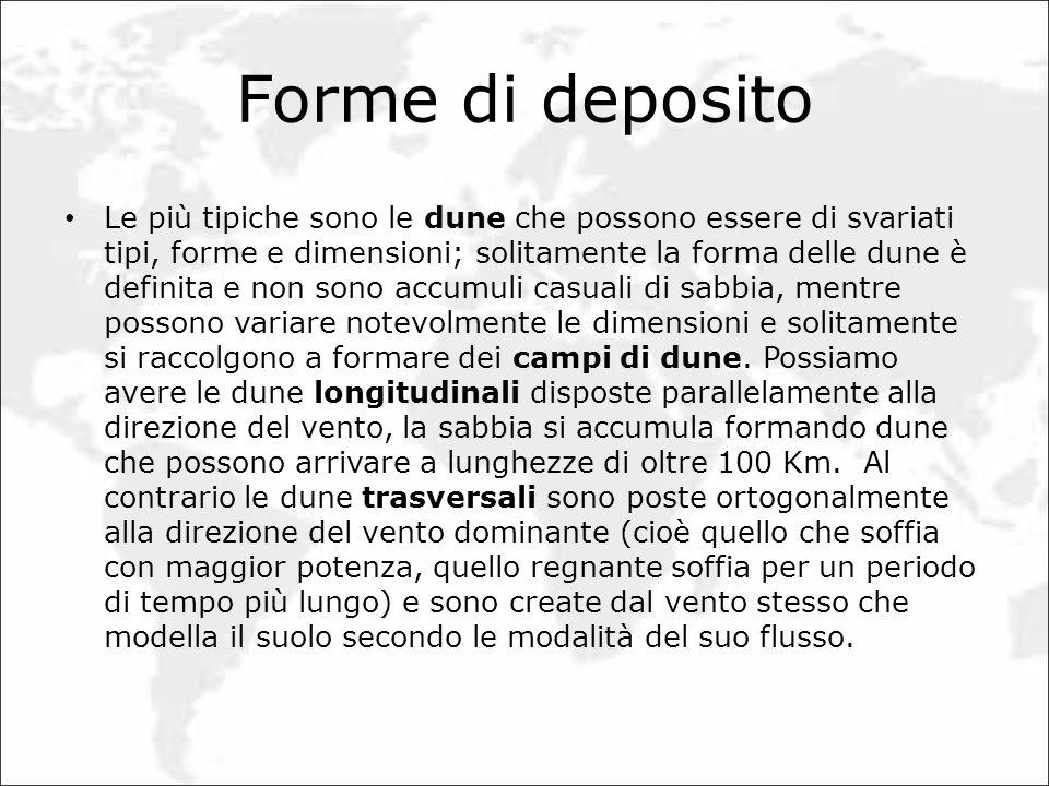 Forme di deposito Le più tipiche sono le dune che possono essere di svariati tipi, forme e dimensioni; solitamente la forma delle dune è definita e no
