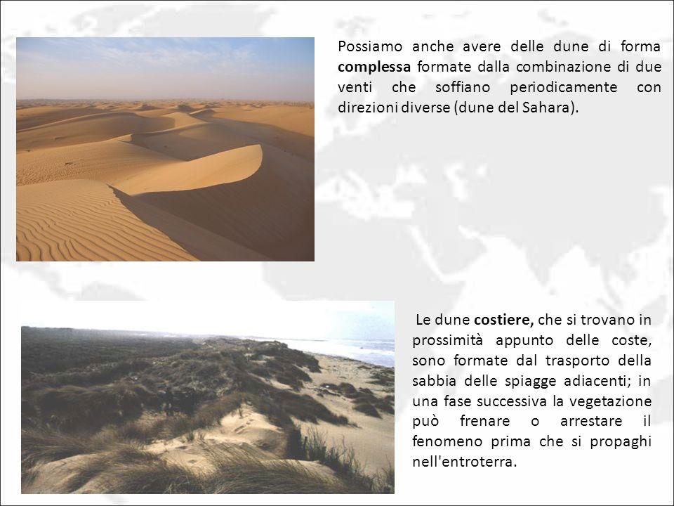 Possiamo anche avere delle dune di forma complessa formate dalla combinazione di due venti che soffiano periodicamente con direzioni diverse (dune del