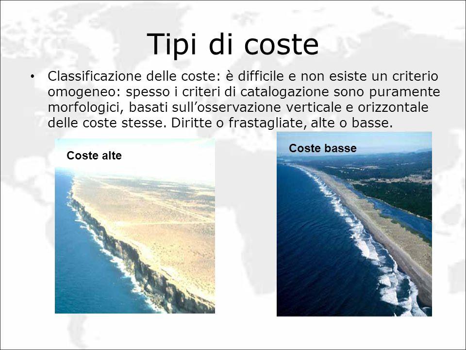 Tipi di coste Classificazione delle coste: è difficile e non esiste un criterio omogeneo: spesso i criteri di catalogazione sono puramente morfologici