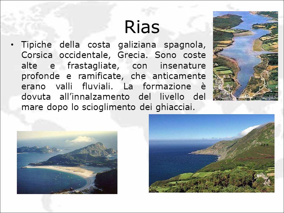Rias Tipiche della costa galiziana spagnola, Corsica occidentale, Grecia. Sono coste alte e frastagliate, con insenature profonde e ramificate, che an