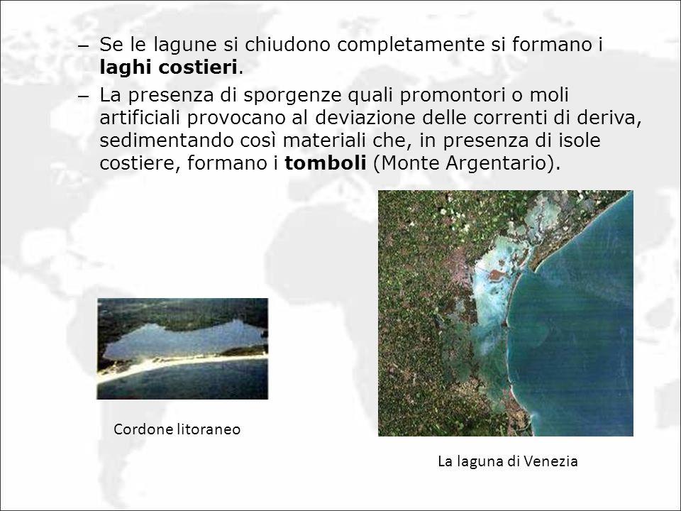 – Se le lagune si chiudono completamente si formano i laghi costieri. – La presenza di sporgenze quali promontori o moli artificiali provocano al devi