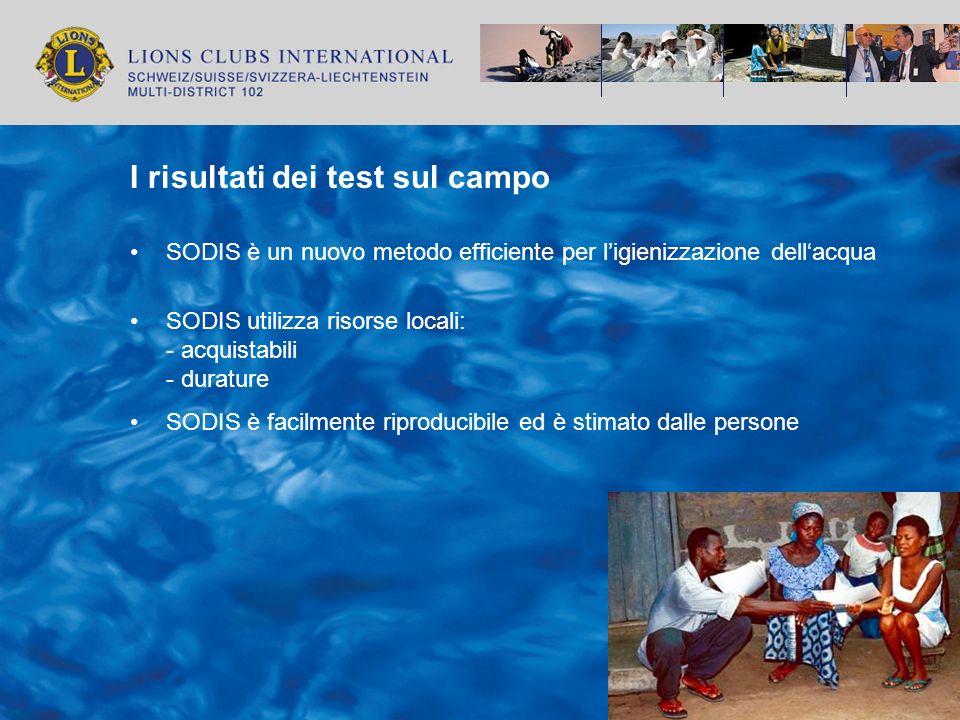 I risultati dei test sul campo SODIS è un nuovo metodo efficiente per ligienizzazione dellacqua SODIS utilizza risorse locali: - acquistabili - duratu
