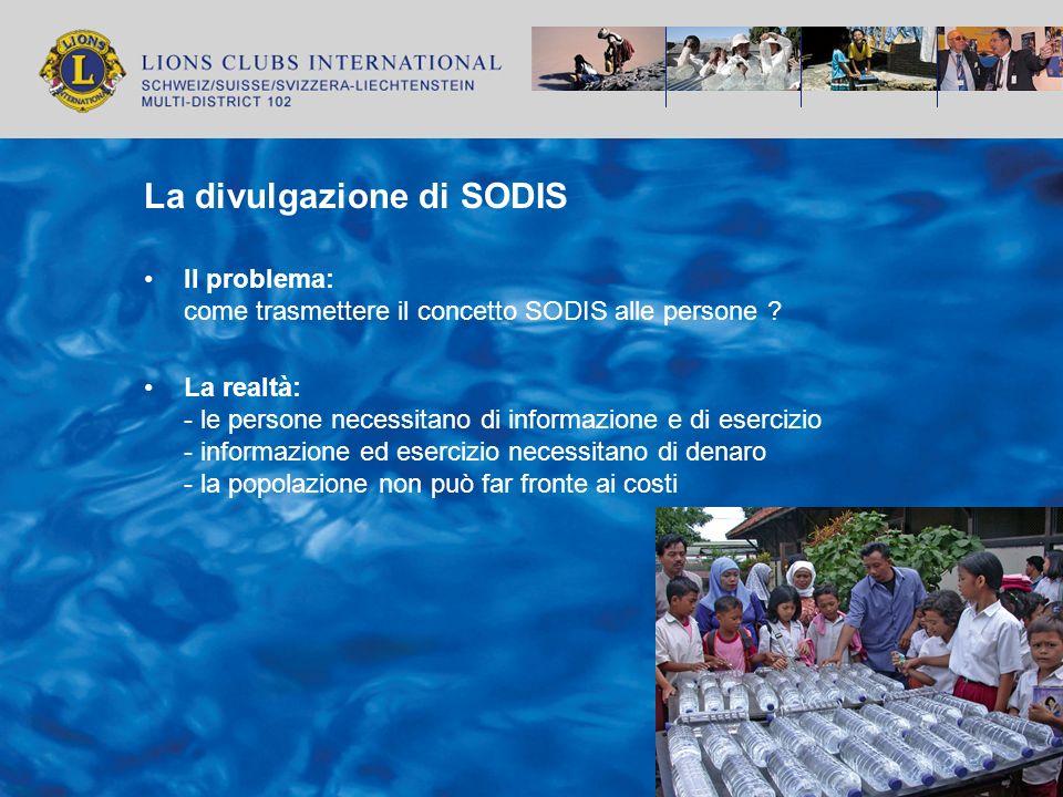 La divulgazione di SODIS Il problema: come trasmettere il concetto SODIS alle persone ? La realtà: - le persone necessitano di informazione e di eserc