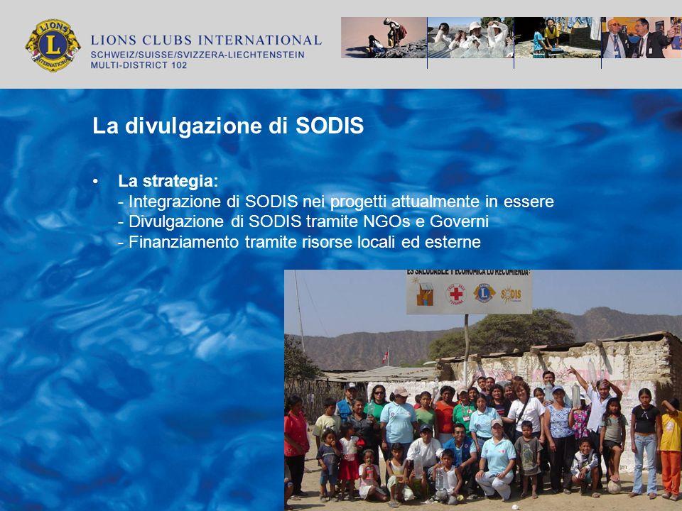 La divulgazione di SODIS La strategia: - Integrazione di SODIS nei progetti attualmente in essere - Divulgazione di SODIS tramite NGOs e Governi - Fin