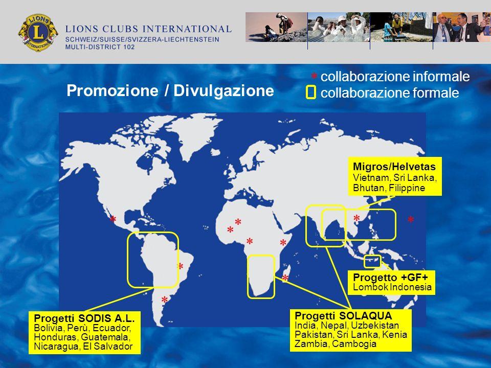 collaborazione formale * collaborazione informale * * * * * * * * * * Progetti SOLAQUA India, Nepal, Uzbekistan Pakistan, Sri Lanka, Kenia Zambia, Cam