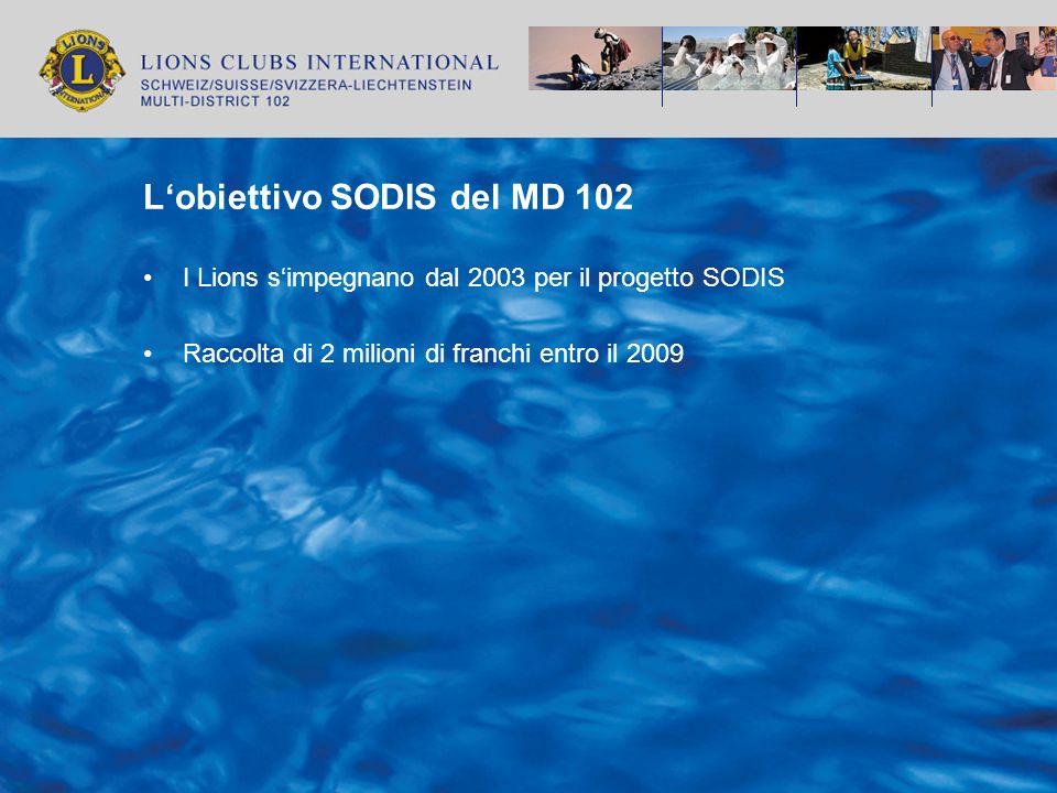 Lobiettivo SODIS del MD 102 I Lions simpegnano dal 2003 per il progetto SODIS Raccolta di 2 milioni di franchi entro il 2009