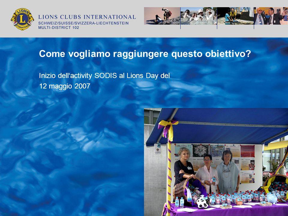 Come vogliamo raggiungere questo obiettivo? Inizio dellactivity SODIS al Lions Day del 12 maggio 2007